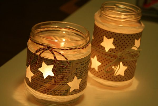 "Easy paper candle craft. Punch stars out of paper. Wrap around tea light (battery-powered one for kids). Christmas craft. Or add bible verses about ""Light"" or ""Stars""...Sunday School craft."
