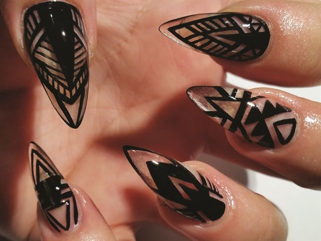 Sharpie/tribal nail designs