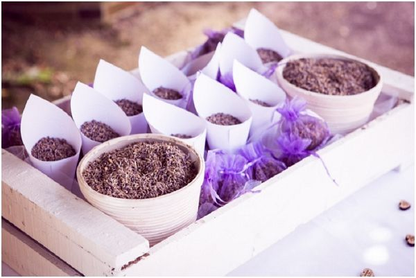 lavender wedding confetti | Image by Nath Ziem, read more http://www.frenchweddingstyle.com/countryside-wedding-in-normandy-france/