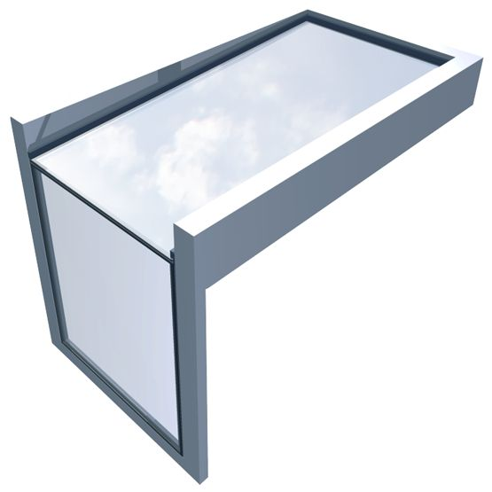 Fixed rooflight for eaves applications that connects a glass wall and a glass ceiling with no visible internal framework.