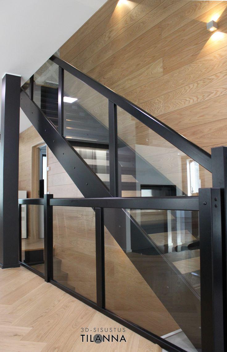 Mustat suorat portaat, Hovinikkareiden malli virgon  http://hovinikkarit.fi/, lasikaiteet, tammipaneloitu seinä, ledi-seinävalaisimet, kalanruotoparketti , black stairs/ omakotitalon kokonaisvaltainen 3D- sisustussuunnitelma/ 3D-sisustus Tilanna