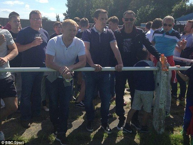Paul Scholes, Gary Neville and Ryan Giggs pictured watching Salford City Fc on Saturday