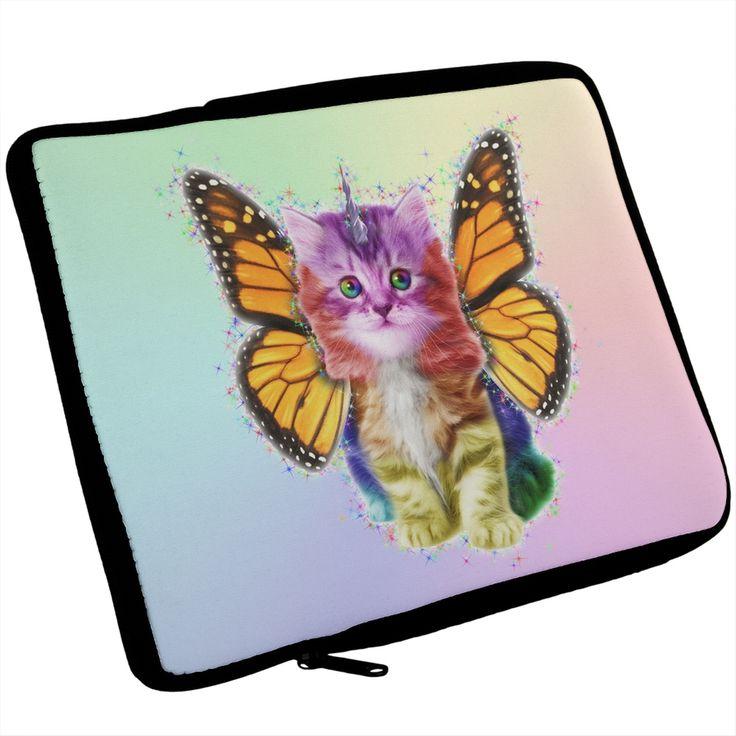 Rainbow Butterfly Unicorn Kitten iPad Tablet Sleeve | AnimalWorld.com