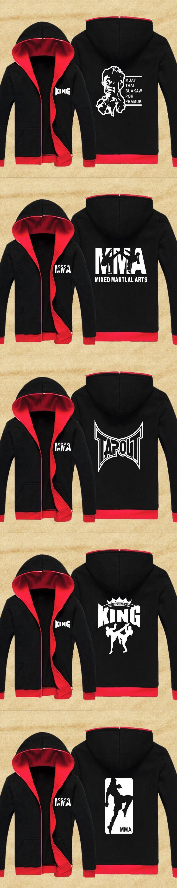 New arrival MMA Hoodie Muay Thai Fighting Zipper Hoodies fleece jacket Men Sweatshirts Suit Unisex King Martial Art Coat