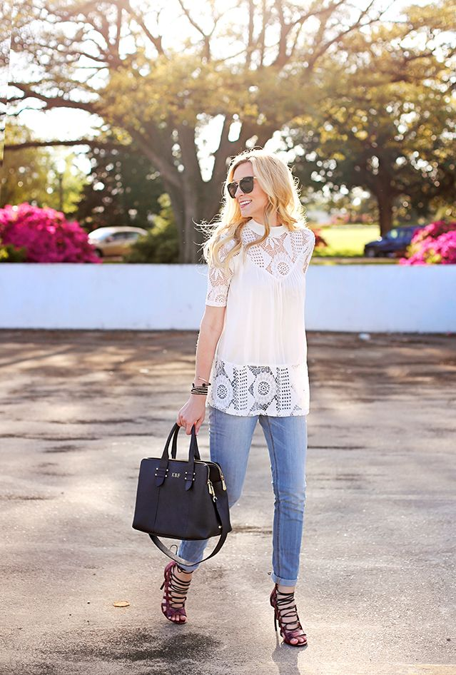 white lace top and lace up heels that are both $35 and under for an affordable spring outfit!