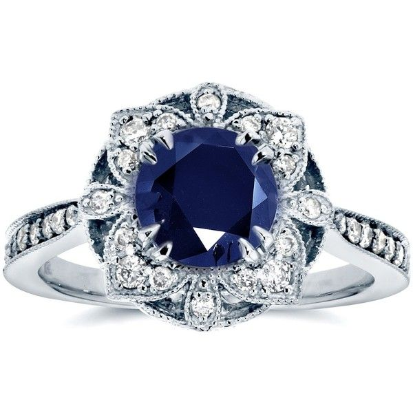 Antique Floral Sapphire and Diamond Engagement Ring 1 1/2 Carat (ctw)... (£1,275) ❤ liked on Polyvore featuring jewelry, rings, accessories, anel, sapphire ring, white gold sapphire ring, vintage rings, antique diamond ring and round cut engagement rings