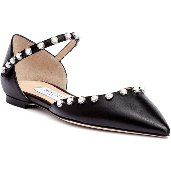Leema Black Leather Beaded Flats ($845) ❤ liked on Polyvore featuring shoes, flats, black, t-strap flats, flat pumps, black leather flats, pointed toe flats and pointed-toe ankle-strap flats