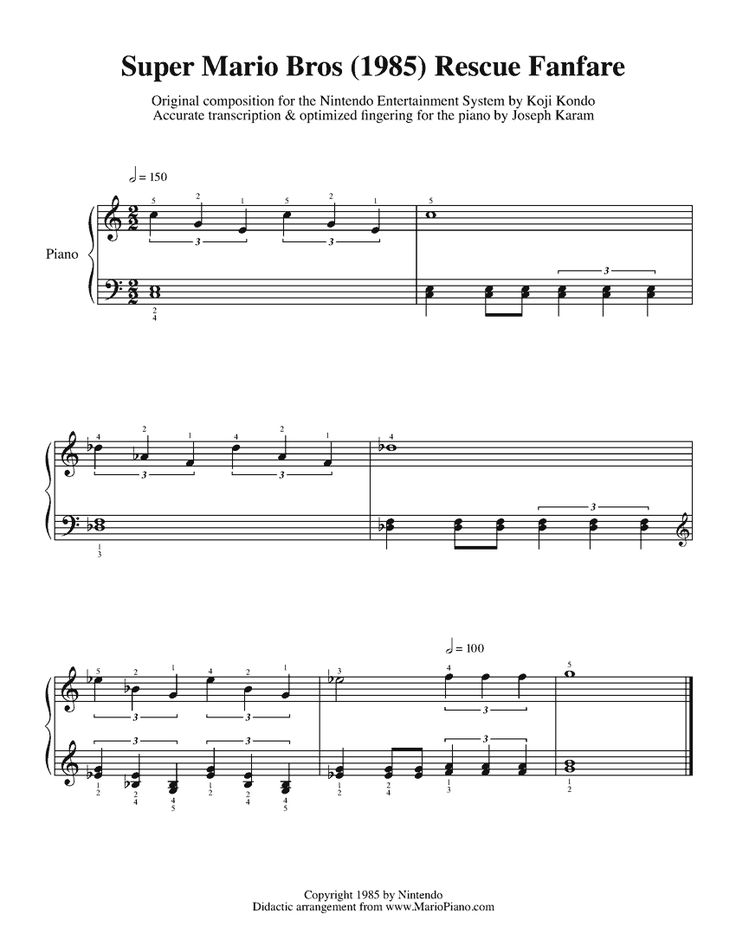 Super Mario Bros Rescue Fanfare With Images Sheet Music Super