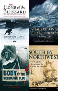Antarctic Package     We're offering this special nautical quartet to celebrate 100 years since Australian explorer Sir Douglas Mawson's successful expedition to the Antarctic.     http://www.wakefieldpress.com.au/product.php?productid=962=0==Y#    Regular Price: AU$84.79  Discounted Price: AU$59.95