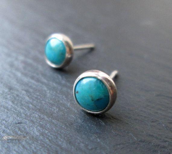 Turquoise Stud Earrings  Stud Earrings. by LillibetsMillinery