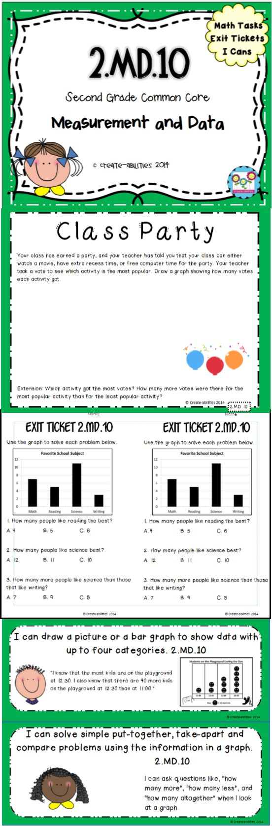 2.MD.10 Graphing and Data. Math Tasks, Exit Tickets, I Can Statements. Great visuals of picture graphs and bar graphs. $  #commoncore #graphing #bargraphs