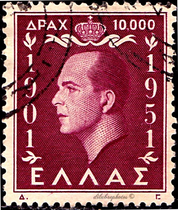 Greece. 50th BIRTHDAY OF KING PAUL I. KING PAUL I. Scott 548 A146. Issued 1952, Engr., Perf. 12 1/2 x 12, 10,000. /ldb.