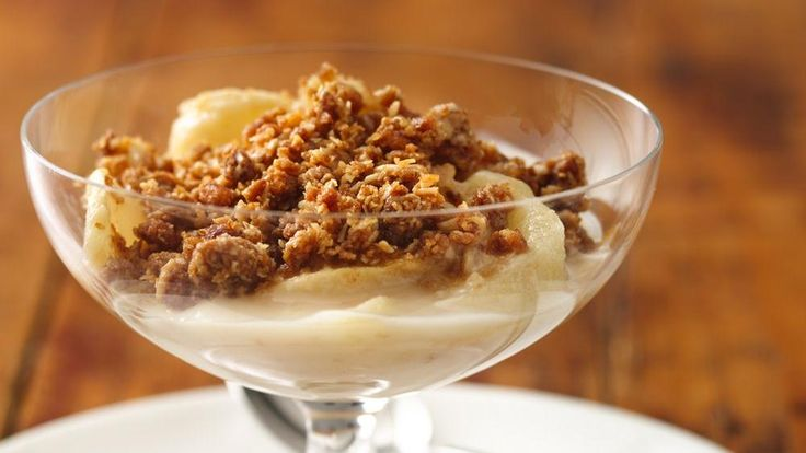 Looking for a delicious fruit dessert using Yoplait® yogurt and Nature Valley® granola bars? Then try this tasty apple crisp that's baked to perfection.