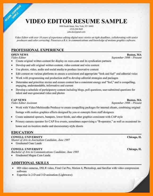 Video Editor Resume Examples Awesome Editor Resume Editor Cv Sample Overseeing The Layout And Teacher Resume Examples Free Resume Samples Basic Resume