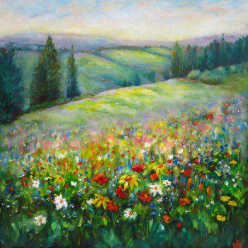 """Landscape Of Flowers"" by Maureen Greenwood. A stunning original painting filled with colourful flowers. A Click here for more stunning original artwork. What will you find? FineArtSeen l The Home Of Original Art.  >> Pin For Later <<"