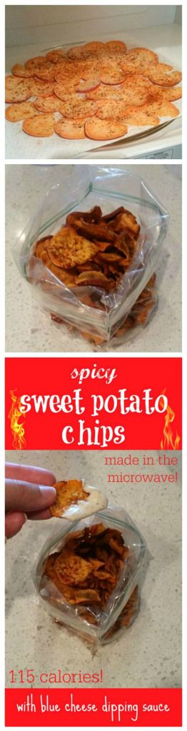 Microwave spicy sweet potato chips with blue cheese dipping sauce ...