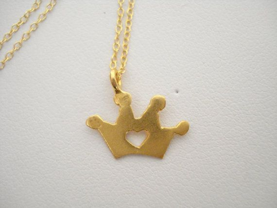 Gold crown with open heart necklace Crown necklace Mini by Poppyg