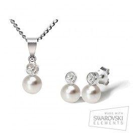 El conjunto Venus está compuesto por un colgante y unos pendientes hechos con elementos Swarovski en plata 925. Destaca la elegancia de sus perlas que, combinadas con cristales Swarovski y con plata, consiguen un brillo especial. Un regalo completo y una gran elección a un precio competitivo.