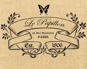 Paris téléchargement numérique imprimable Le Papillon vintage romantique grande image France pour impression sur tissu toile de jute étiquette serviettes de table en toile de jute oreiller n170