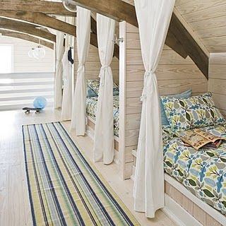 Arched trusses in a beach house bunk room dorm...The Enchanted Home: Beach house chic