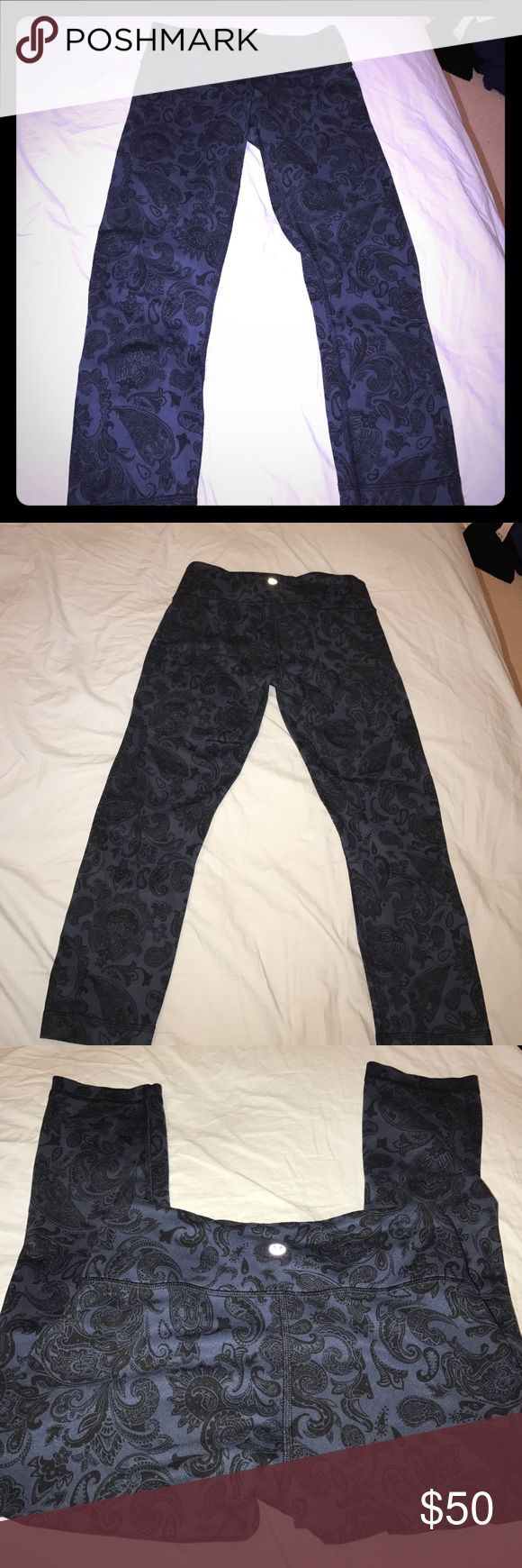 Lululemon Wunder Under Crops These no-fuss, versatile crops were designed to fit like a second skin—perfect for yoga or the gym. Navy and black paisley pattern. In amazing condition! lululemon athletica Pants Leggings