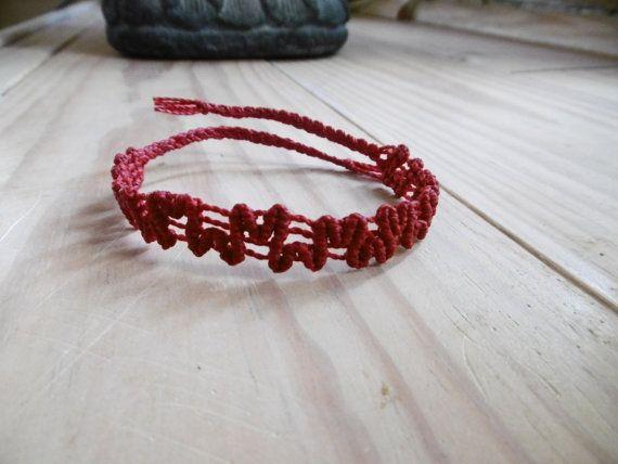 Red macrame bracelet by Coloriation on Etsy