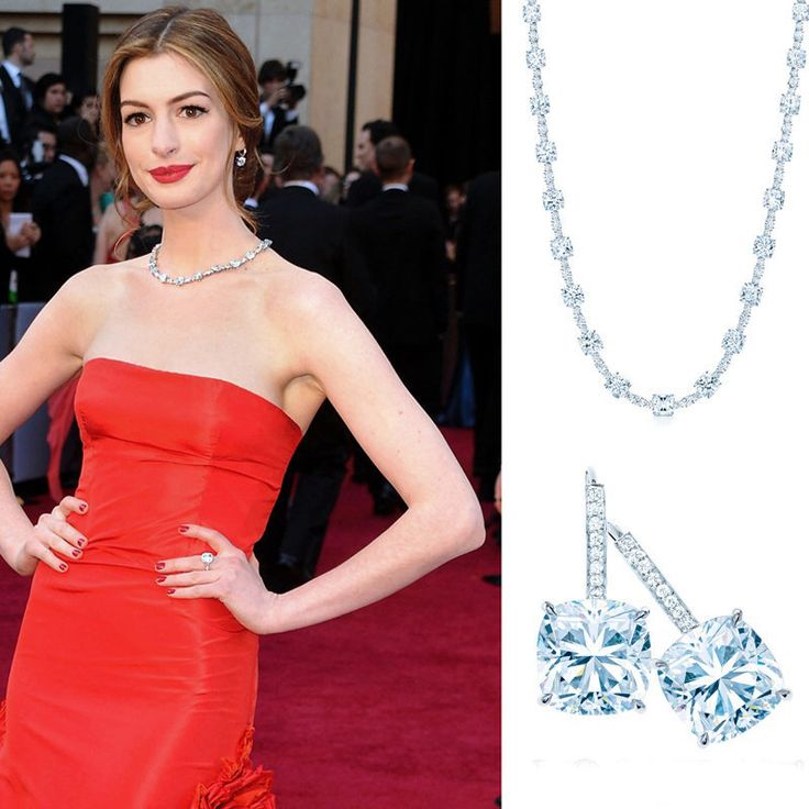 Anne Hathaway wore a Tiffany Lucida Star diamond necklace, weighing a total of 94 carats, a matching pair of diamond earrings and a diamond ring. Together worth an estimated $10 million. Hathaway was reportedly paid $750,000 to wear the pricey jewels.  #oscars #oscarjewelry #oscarfashion #oscars2015