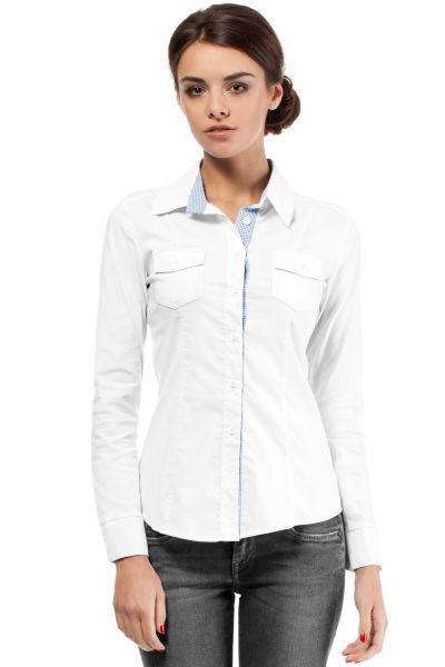 Biała koszula damska z kraciastą wstawką