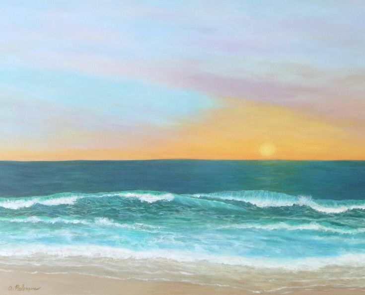 Colorful Sunset Beach Paintings Painting  - Colorful Sunset Beach Paintings Fine Art Print