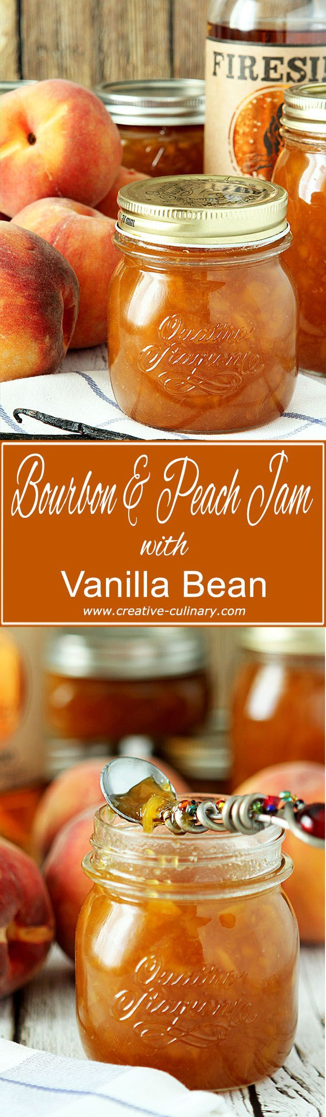 I think bourbon is the perfect spirit to pair with peaches and this Bourbon Peach Jam with Vanilla Bean is a decadent start to the day! via @creativculinary