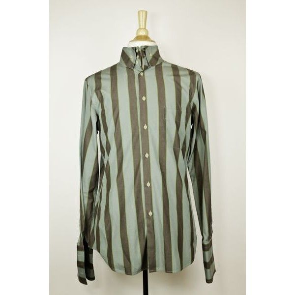 Pre-Owned Vivienne Westwood green/brown Striped Cotton Shirt ($162) ❤ liked on Polyvore featuring men's fashion, men's clothing, men's shirts, neutral, mens cotton shirts, mens green striped shirt, mens stripe shirts, vivienne westwood mens shirts and vivienne westwood mens clothing