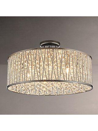 John Lewis Partners Emilia Large Crystal Drum Flush Ceiling Light Online At Johnlewis