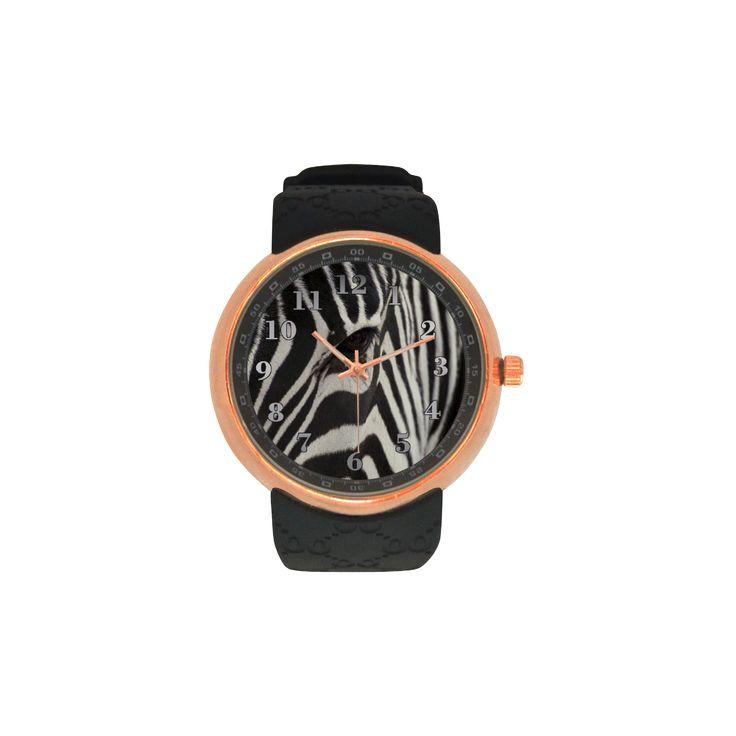 Zebra Men's Rose Gold Resin Strap Watch. FREE Shipping. #artsadd #watches #zebra