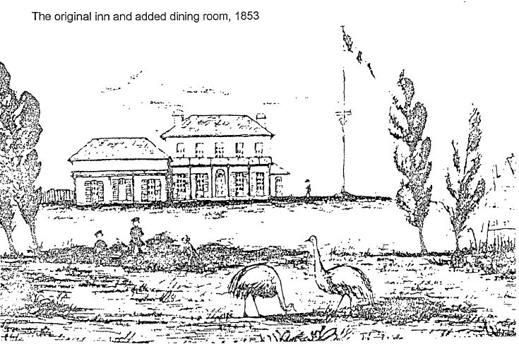 The original Joseph Banks Inn 1853. The road from Sydney was very bad so most people came to The Pleasure Gardens by boat. For special occasions the proprietors arranged for a steamship from Circular Quay, leaving at 9.am and returning from Botany at 6pm. A ticket for the round trip cost 10/-, Entry to the zoo cost 1/-, dinner cost either 4/- or 10/- depending on which dining room was used. (The average weekly income was £1/19/- )