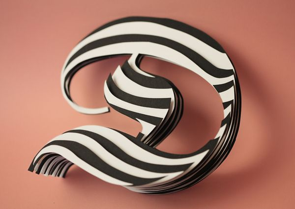 "Jerome Corgier's Space Paper Typography - Letter ""D""  #Typography  #D  #PaperCut"