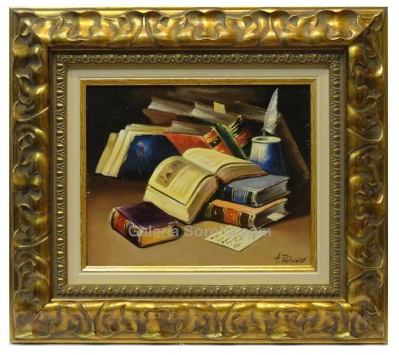 Piñeiro : Books. Medium: Oil on canvas Measurements (cm): 44x39 Canvas measurements (cm): 27x22 Interior frame: Yes. Another excellent work by our specialist in this subject.An artist already recognised in the world of painting, he stands out in his works for the quality of detail and successful colours. Finished with a classic carved frame, an excellent work.  $272.83