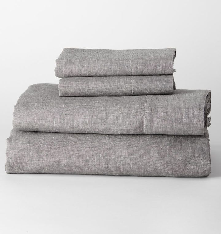Rejuvenation Belgian Flax Linen Sheet Set - Heathered Gray