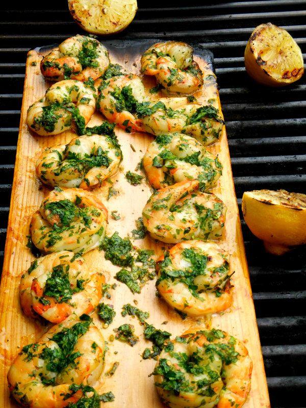 Cedar Planked Shrimp with Parsley Pesto Chimichurri