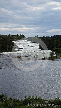 Great waterfall 'Storforsen', Älvsbyn, North of Sweden.