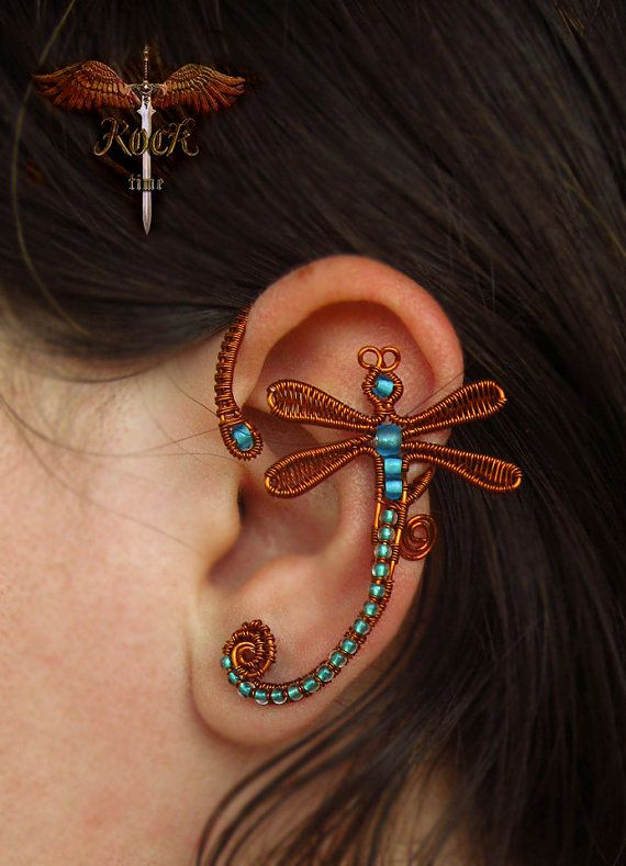 Wire firefly ear cuff