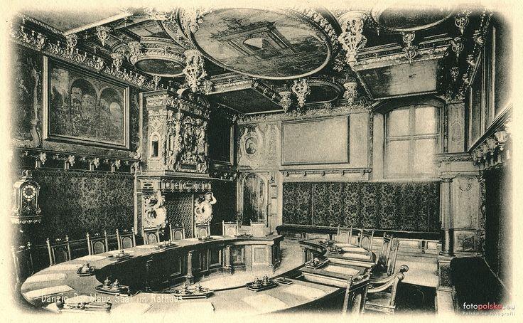 Sala Czerwona - Wielka Sala Rady, Gdańsk - 1894 rok, stare zdjęcia