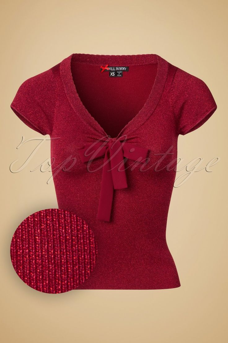 1950s Style Sweaters 50s Angette Sparkling Top in Red £40.41 AT vintagedancer.com