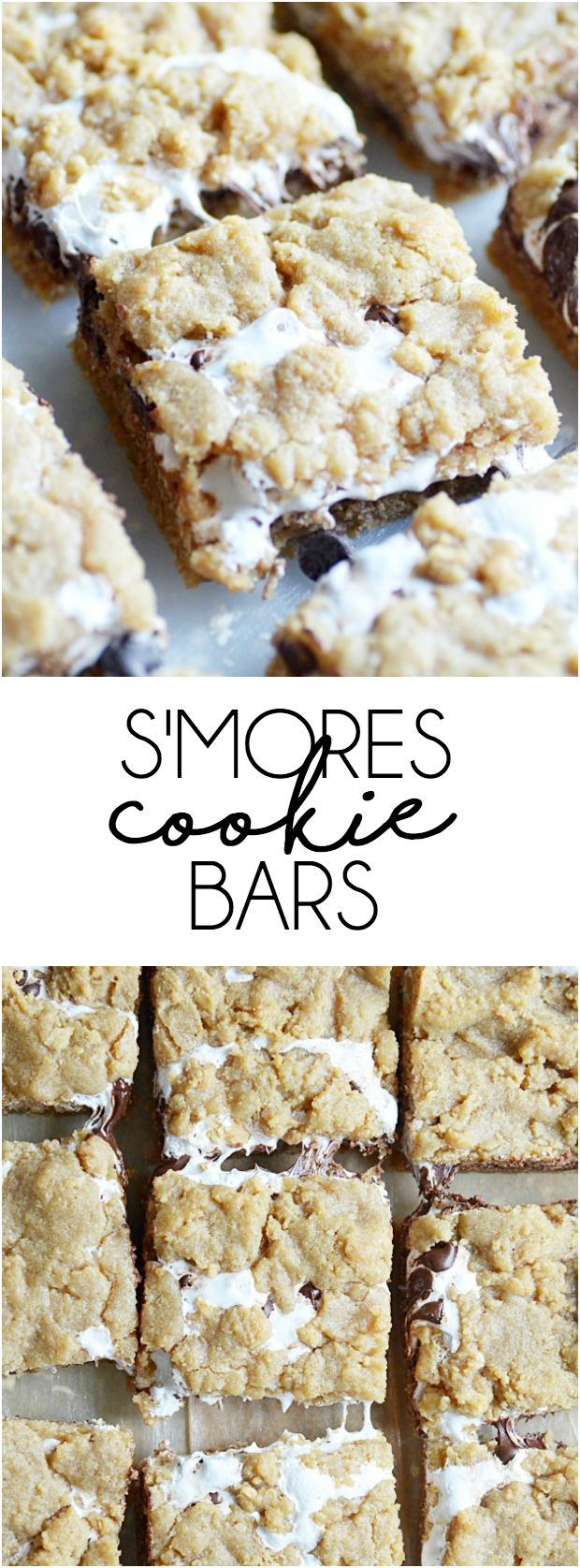 S'mores Cookie Bars: Soft, chewy, and slightly crunchy graham cracker cookie bars with a marshmallow swirl and semi-sweet chocolate chips. #smores #camping #desserts