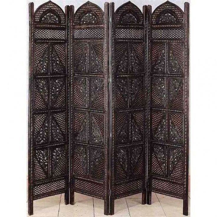 Enchanting Room Partition For Living Decoration With Carved Hard Wood 4 Panel Folding Screen