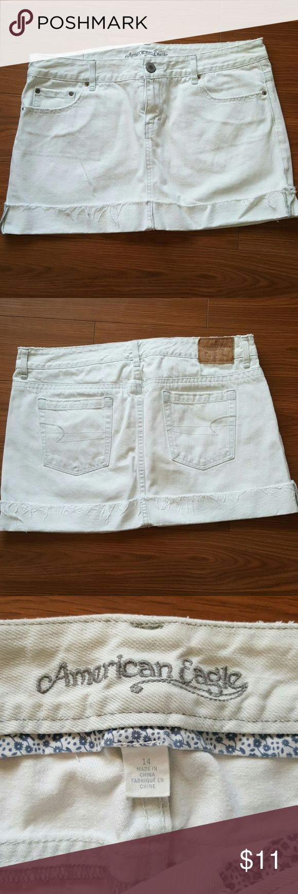 American Eagle Skirt White denim skirt size 14.  In great condition! American Eagle Outfitters Skirts Mini