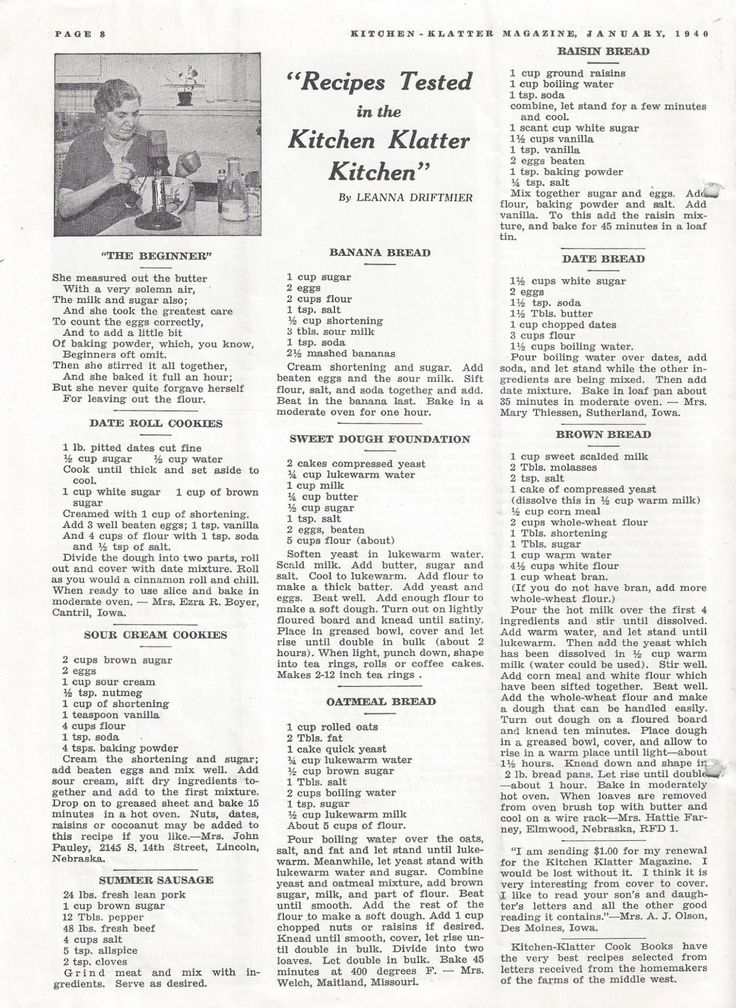 Kitchen Klatter Magazine, January 1940 - The Beginner, Date Roll Cookies, Sour Cream Cookies, Summer Sausage, Banana Bread, Sweet Dough Foundation, Oatmeal Bread, Raisin Bread, Date Bread, Brown Bread