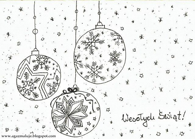 , bombki, śnieg, święta, boenarodzenie, akwarela, cienkopis, agazmaluje, blog rysunkowy, rysunek, ilustracja