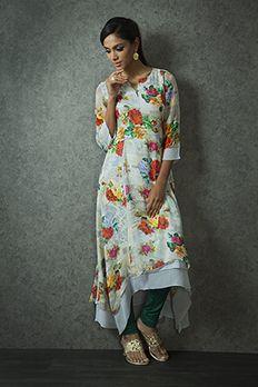 Asymmetric digital print kurti from #Benzer #Benzerworld #indowesternwear