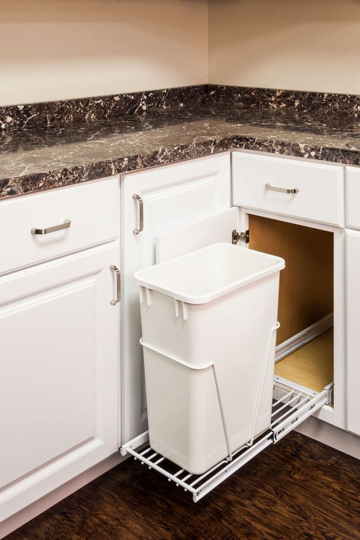 45 best easy install cabinet organizers images on pinterest 35 or 50 qt white polymer trash can sold separately designed for use with 13 gallon tall kitchen trash