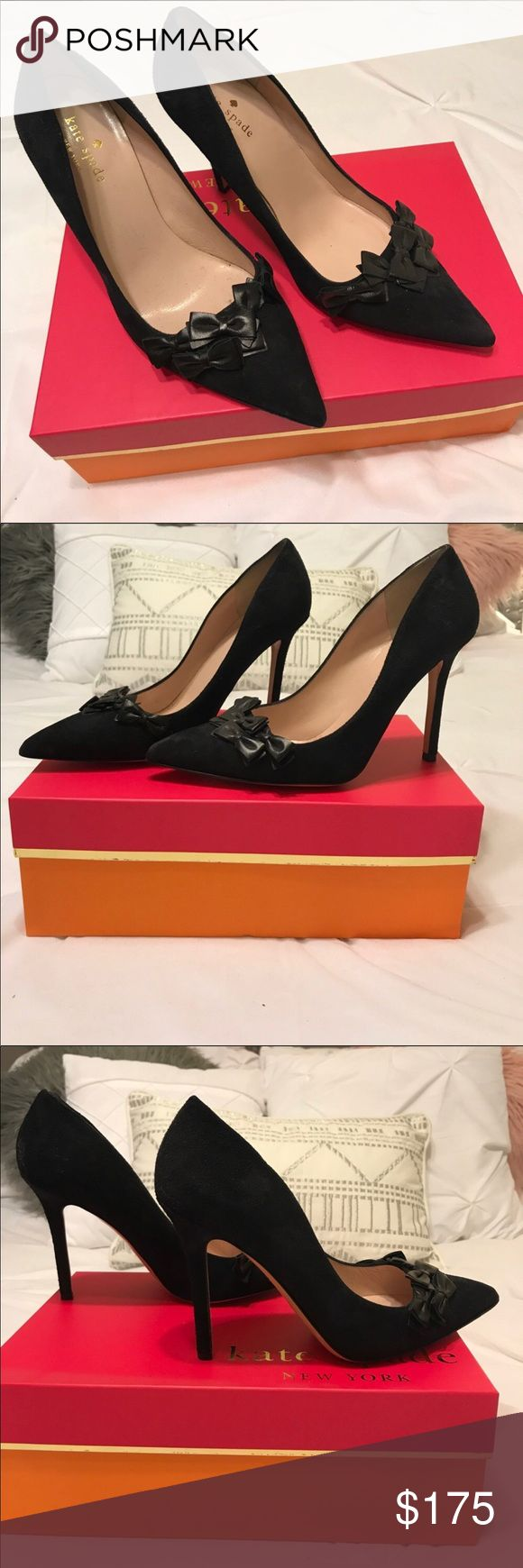 """WILLING TO TRADE - 100% Authentic Kate Spade Heels 100% Authentic Kate Spade 4"""" Heels in a gorgeous Navy color with tiny leather bows - Great Used Condition - Sueded/Leather upper & Leather lining and sole - Comes with original box - Size Stamp 7.5B - I am a true 7.5 US size and these fit me perfectly - My entire closet is up for trade/negotiation. If you would like to exchange any item(s) with me, please feel free to send me a message. Thank you in advance  (Local Pick-Up is available in…"""